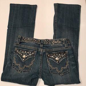 Miss me jeans jewel gemstones 29 boot hemmed short